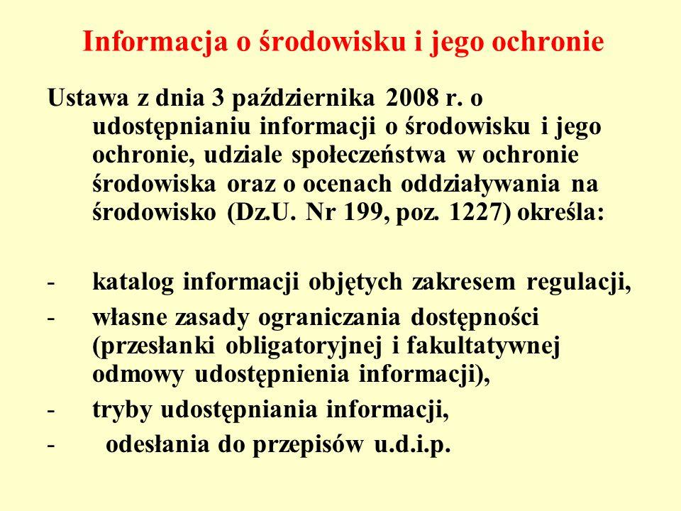 Informacja o środowisku i jego ochronie