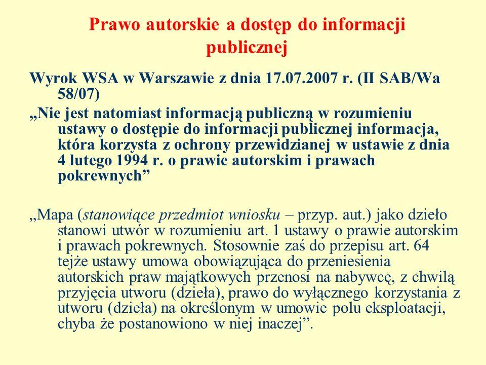 Prawo autorskie a dostęp do informacji publicznej