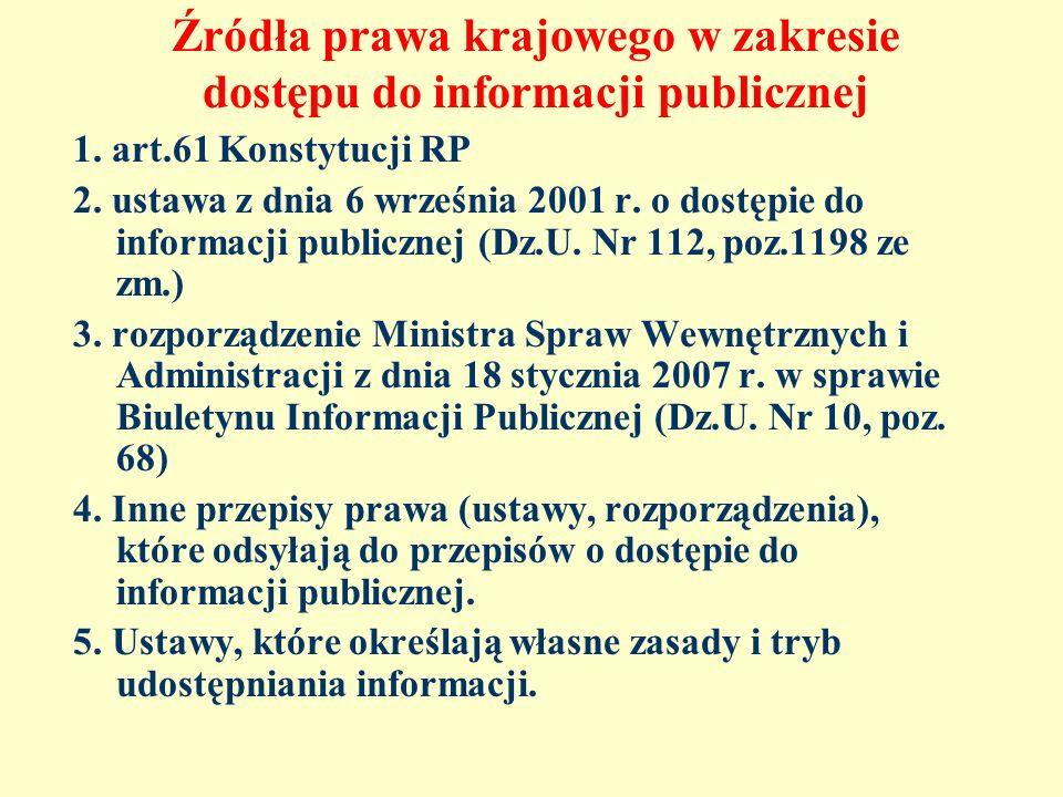Źródła prawa krajowego w zakresie dostępu do informacji publicznej