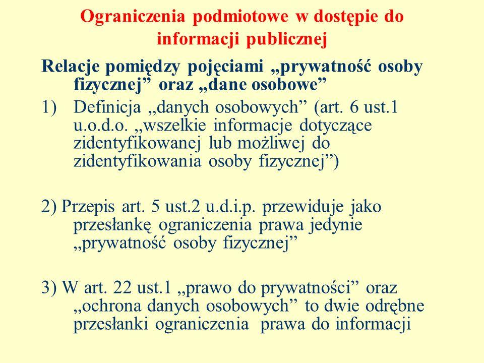 Ograniczenia podmiotowe w dostępie do informacji publicznej