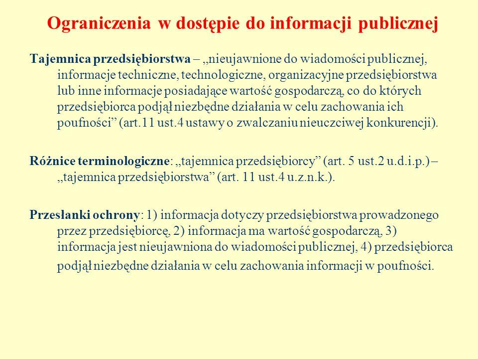 Ograniczenia w dostępie do informacji publicznej