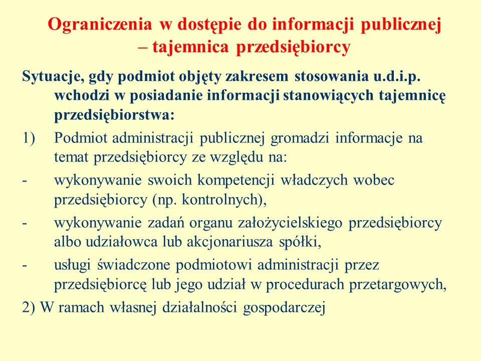 Ograniczenia w dostępie do informacji publicznej – tajemnica przedsiębiorcy