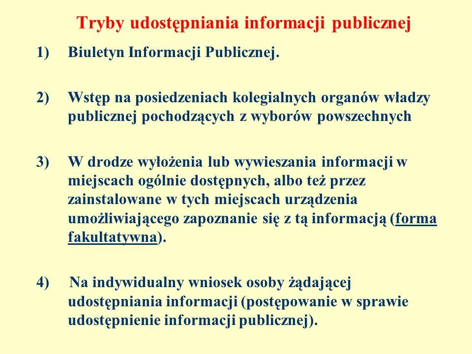 Tryby udostępniania informacji publicznej