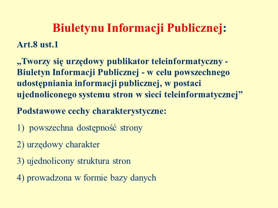 Biuletynu Informacji Publicznej: