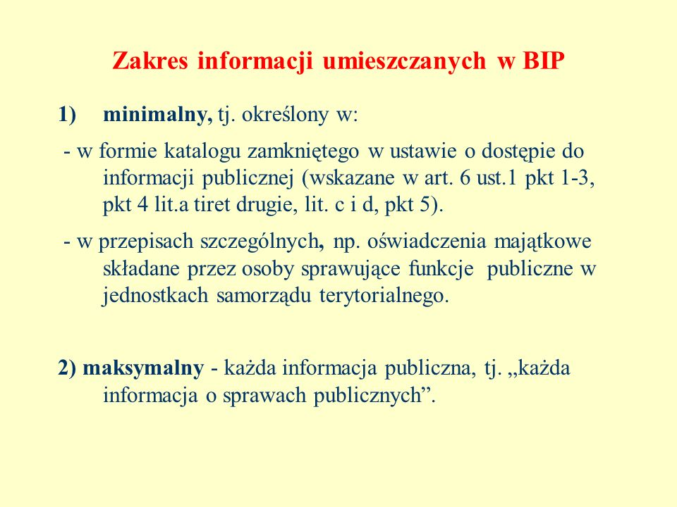 Zakres informacji umieszczanych w BIP