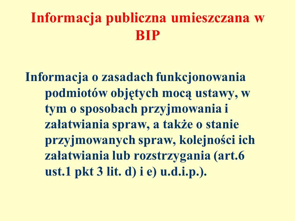 Informacja publiczna umieszczana w BIP