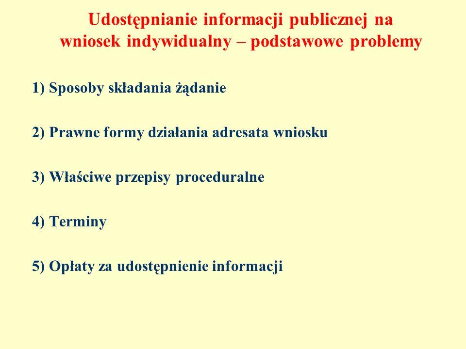 Udostępnianie informacji publicznej na wniosek indywidualny – podstawowe problemy