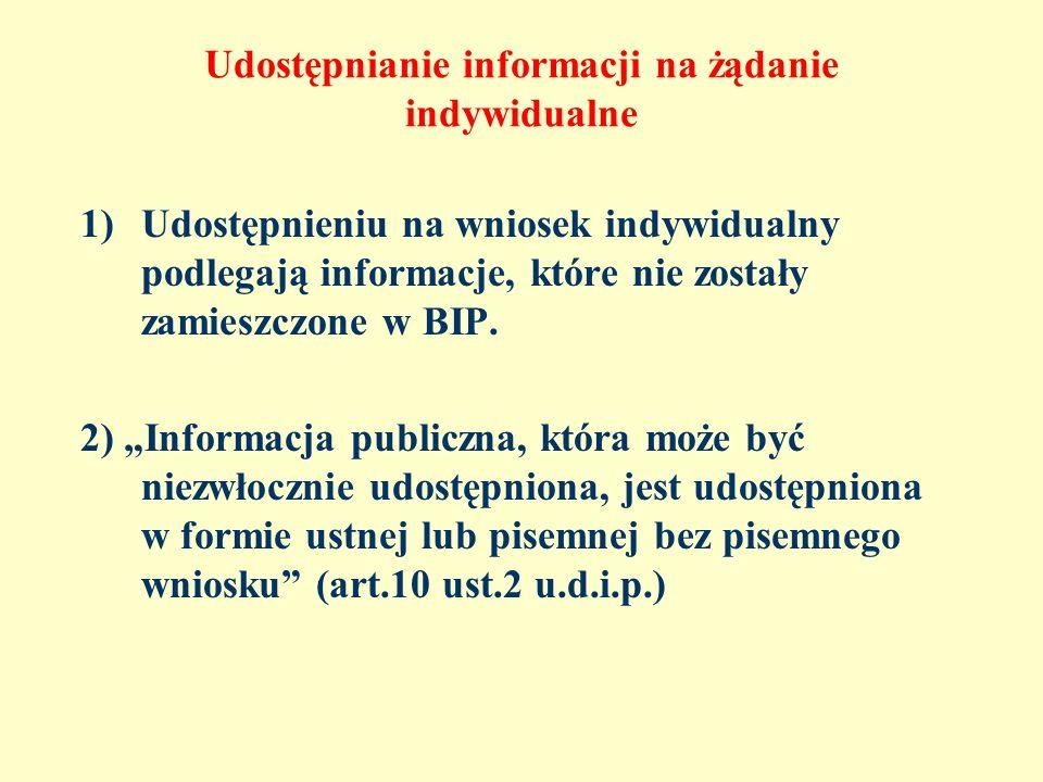 Udostępnianie informacji na żądanie indywidualne