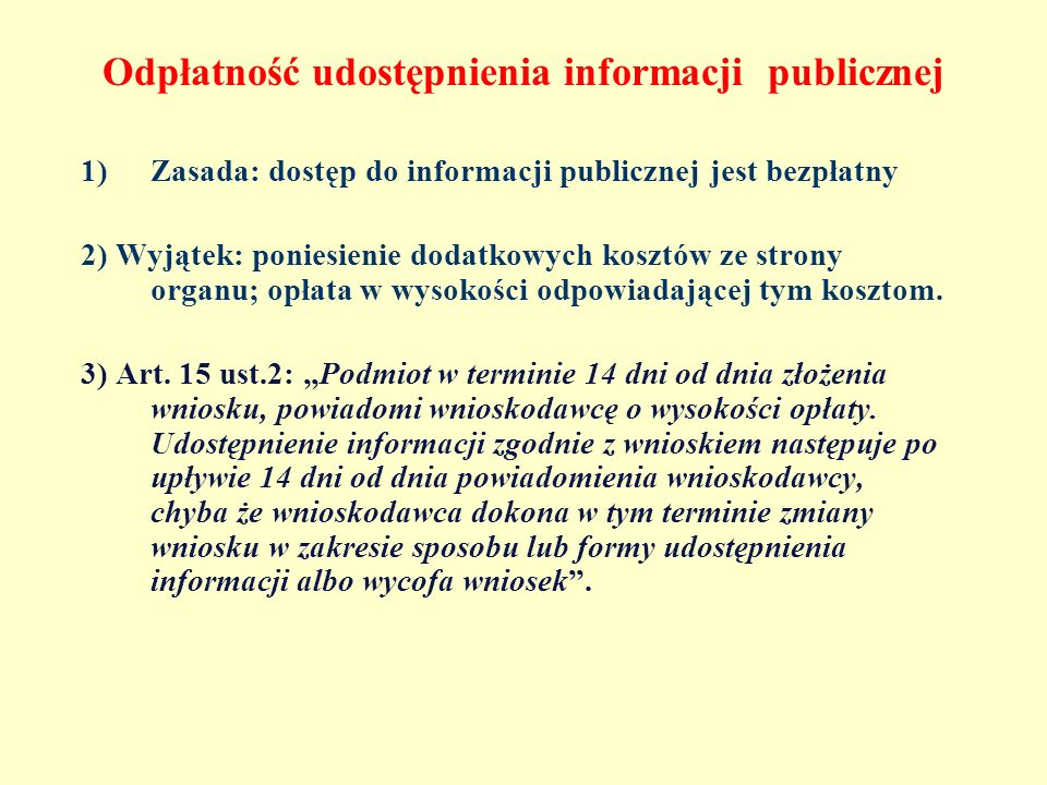 Odpłatność udostępnienia informacji publicznej