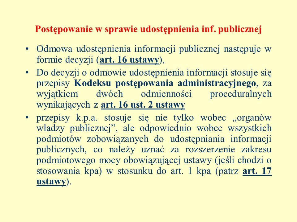 Postępowanie w sprawie udostępnienia inf. publicznej