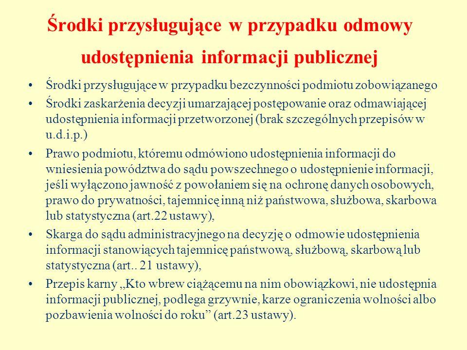 Środki przysługujące w przypadku odmowy udostępnienia informacji publicznej