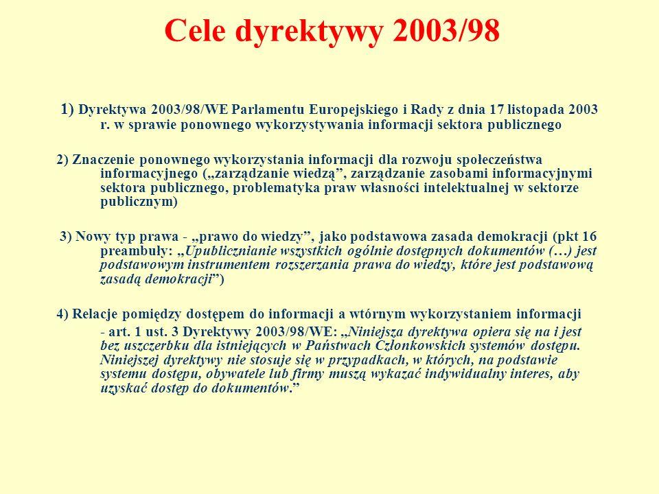 Cele dyrektywy 2003/98