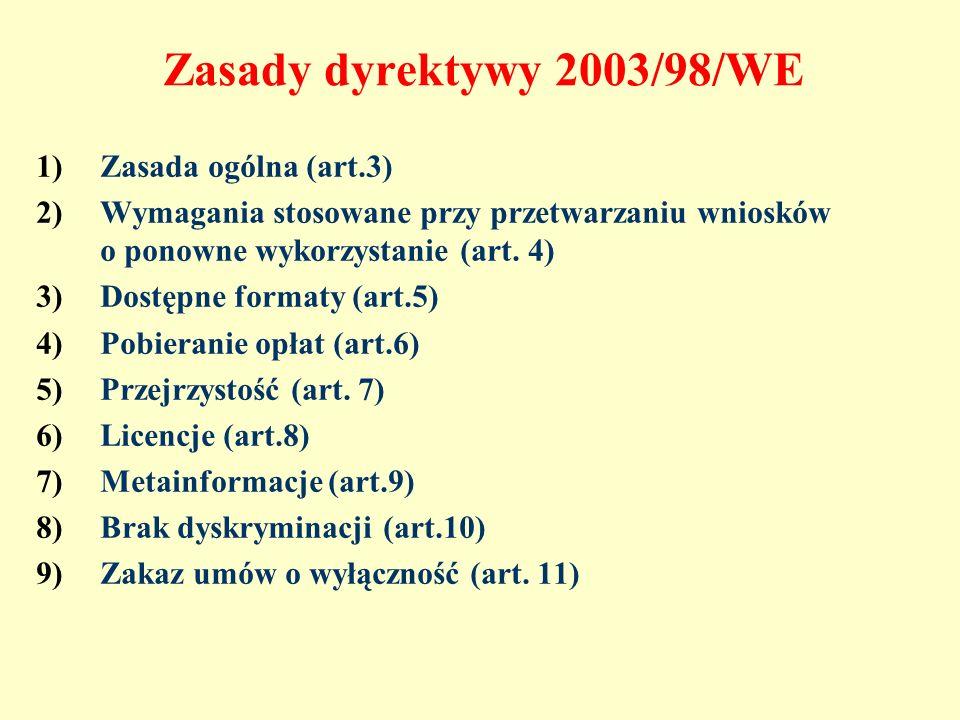 Zasady dyrektywy 2003/98/WE Zasada ogólna (art.3)
