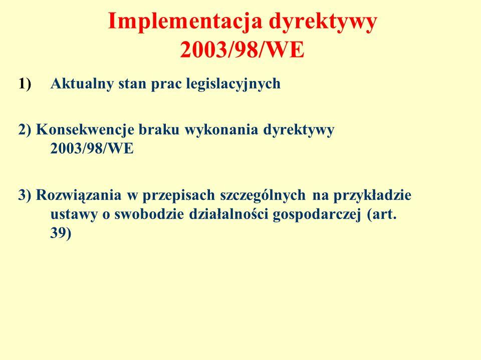Implementacja dyrektywy 2003/98/WE