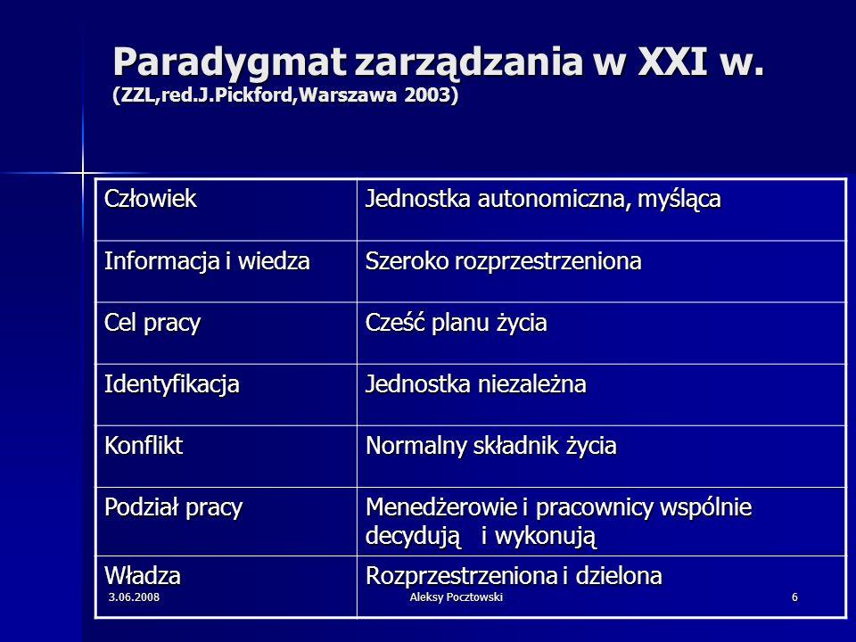Paradygmat zarządzania w XXI w. (ZZL,red.J.Pickford,Warszawa 2003)