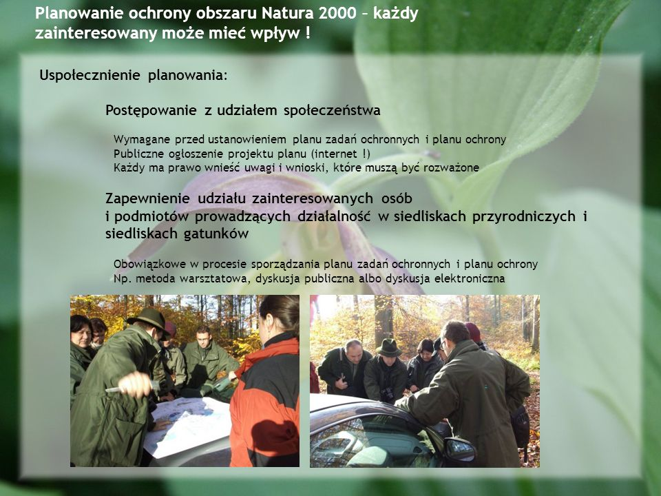 Planowanie ochrony obszaru Natura 2000 – każdy zainteresowany może mieć wpływ !