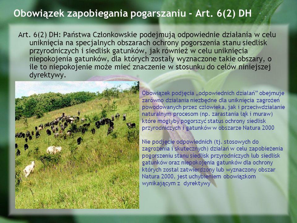 Obowiązek zapobiegania pogarszaniu - Art. 6(2) DH
