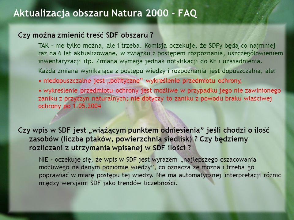 Aktualizacja obszaru Natura 2000 - FAQ