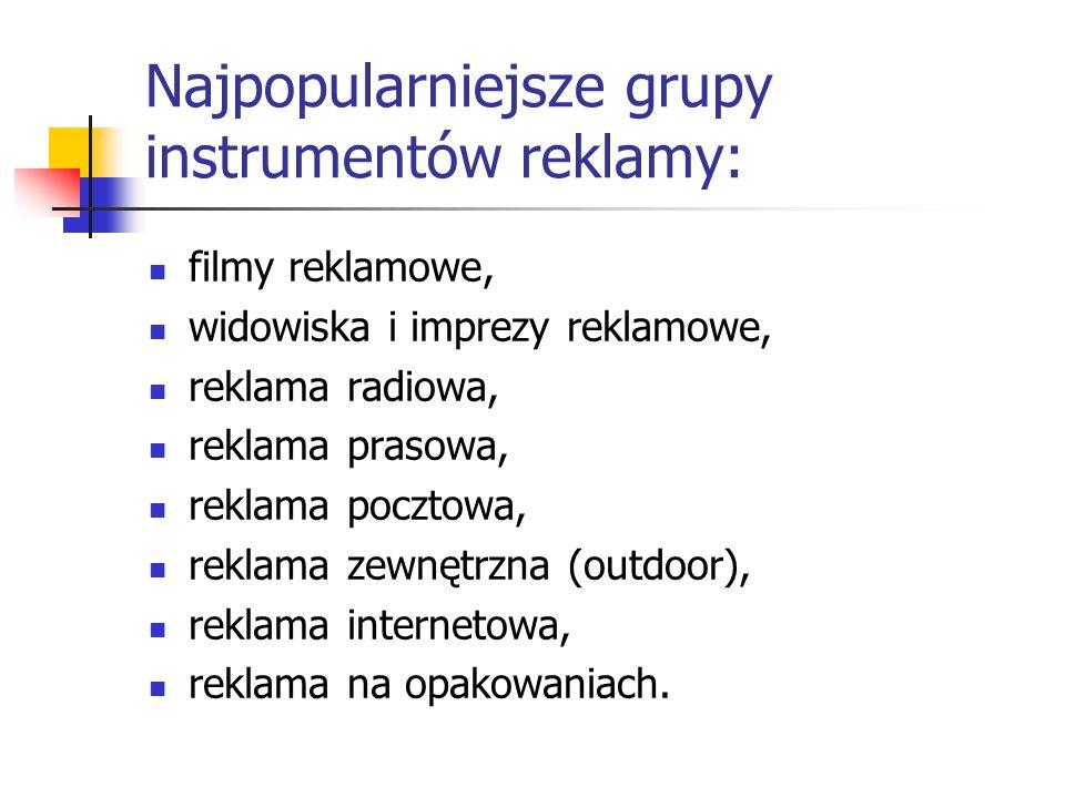 Najpopularniejsze grupy instrumentów reklamy: