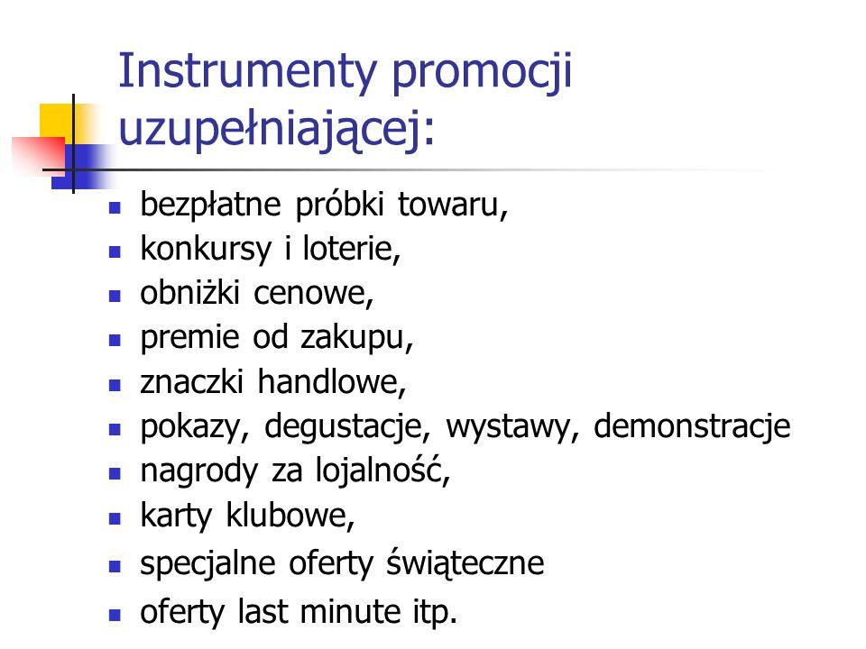 Instrumenty promocji uzupełniającej: