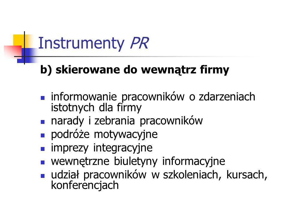 Instrumenty PR b) skierowane do wewnątrz firmy