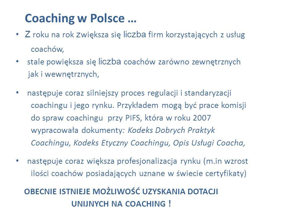 Coaching w Polsce …Z roku na rok zwiększa się liczba firm korzystających z usług. coachów, stale powiększa się liczba coachów zarówno zewnętrznych.