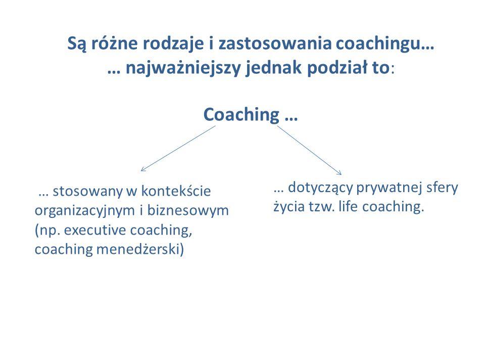 Są różne rodzaje i zastosowania coachingu… … najważniejszy jednak podział to: Coaching …