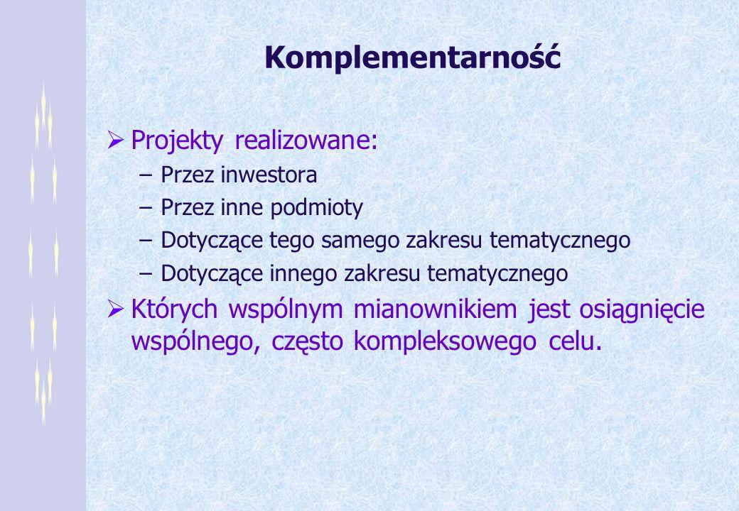 Komplementarność Projekty realizowane: