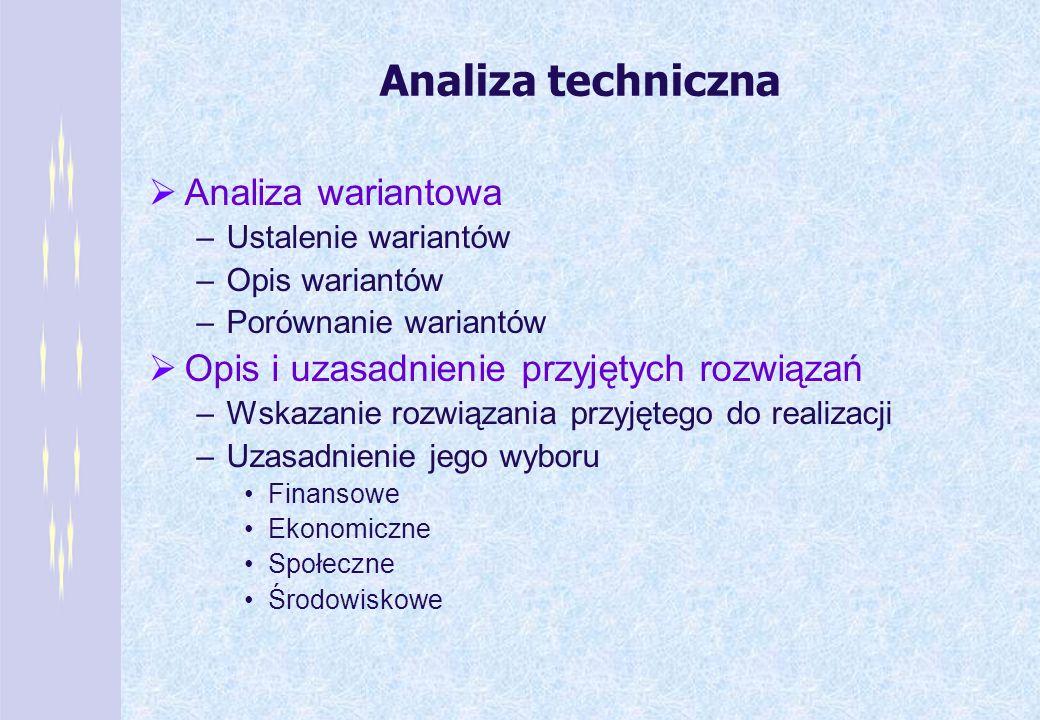 Analiza techniczna Analiza wariantowa