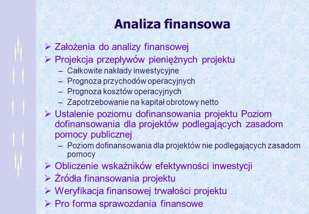 Analiza finansowa Założenia do analizy finansowej