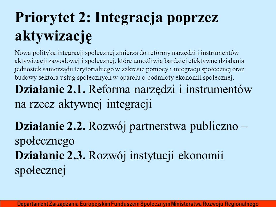 Priorytet 2: Integracja poprzez aktywizację