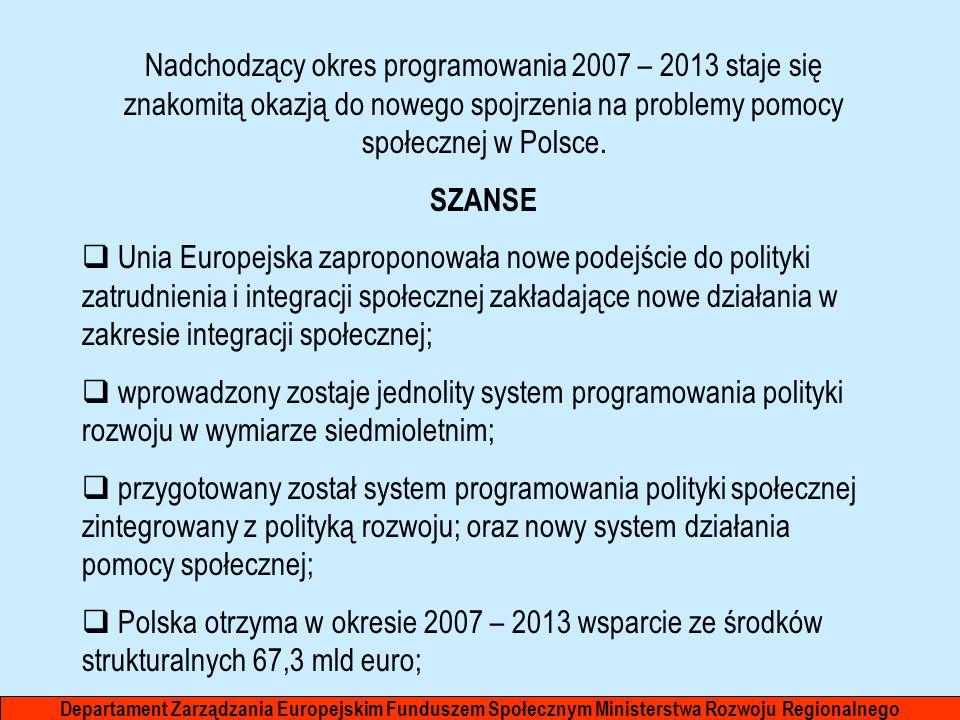 Nadchodzący okres programowania 2007 – 2013 staje się znakomitą okazją do nowego spojrzenia na problemy pomocy społecznej w Polsce.