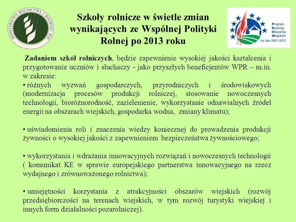 Szkoły rolnicze w świetle zmian wynikających ze Wspólnej Polityki Rolnej po 2013 roku