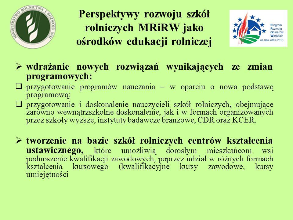 Perspektywy rozwoju szkół rolniczych MRiRW jako ośrodków edukacji rolniczej