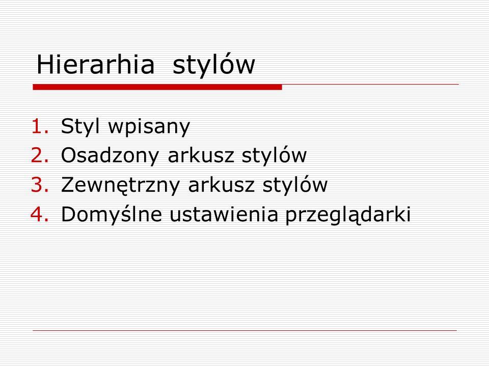 Hierarhia stylów Styl wpisany Osadzony arkusz stylów