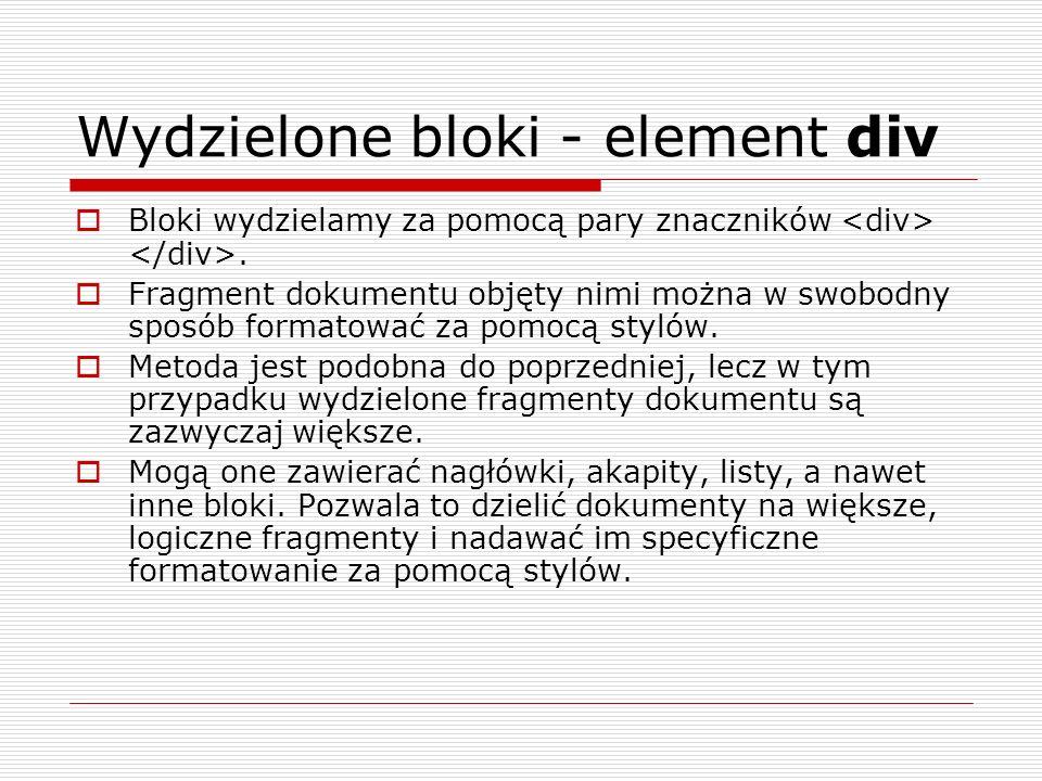 Wydzielone bloki - element div