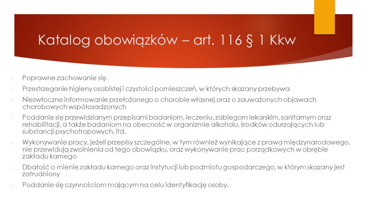 Katalog obowiązków – art. 116 § 1 Kkw