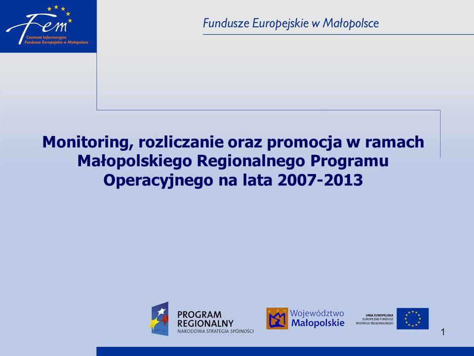 Monitoring, rozliczanie oraz promocja w ramach Małopolskiego Regionalnego Programu Operacyjnego na lata 2007-2013
