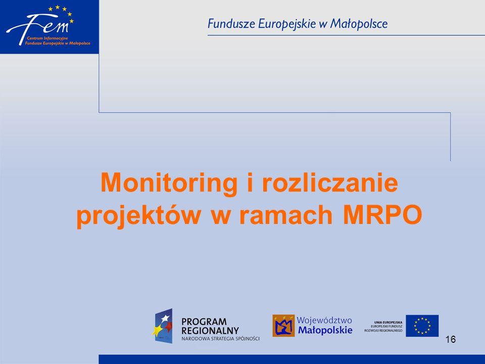 Monitoring i rozliczanie projektów w ramach MRPO