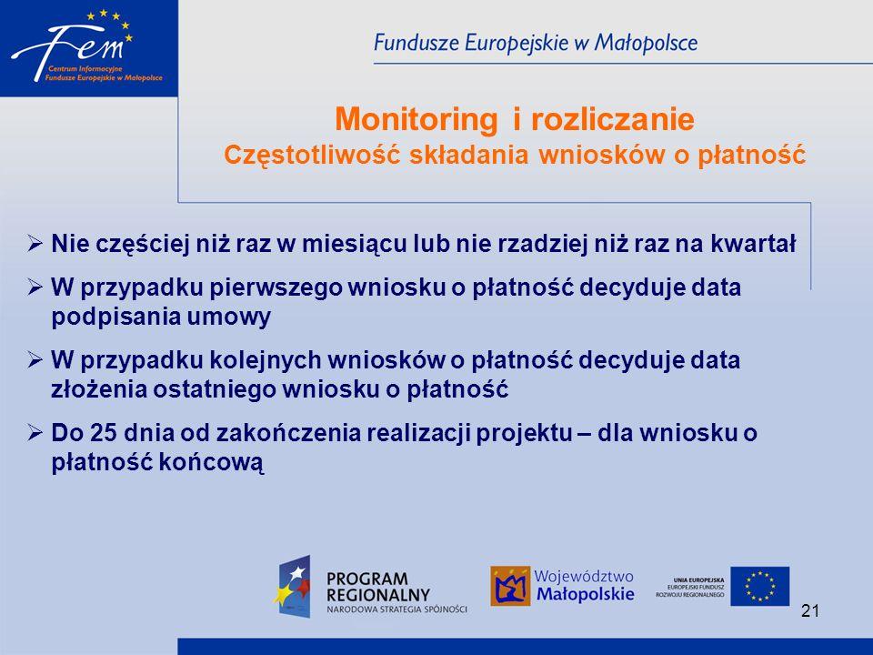 Monitoring i rozliczanie Częstotliwość składania wniosków o płatność