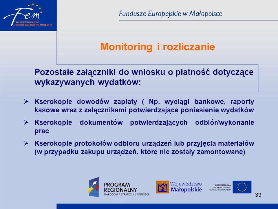 Monitoring i rozliczanie