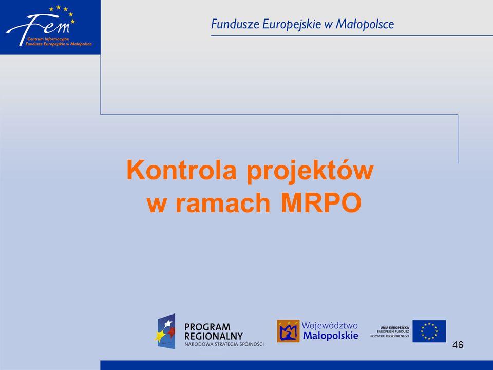 Kontrola projektów w ramach MRPO
