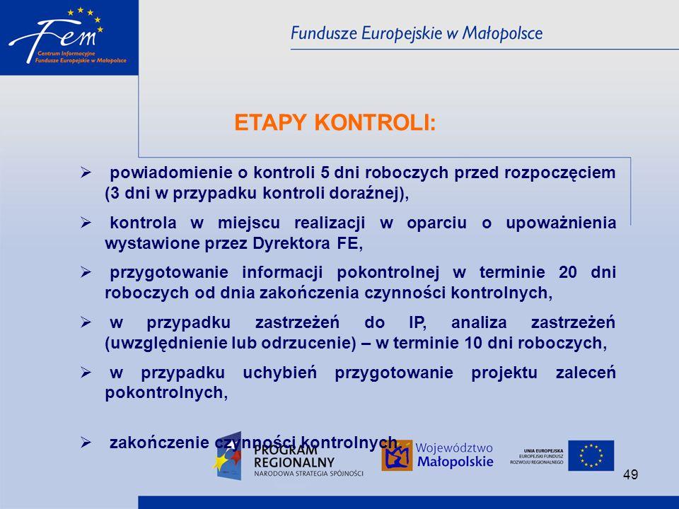 ETAPY KONTROLI: powiadomienie o kontroli 5 dni roboczych przed rozpoczęciem (3 dni w przypadku kontroli doraźnej),
