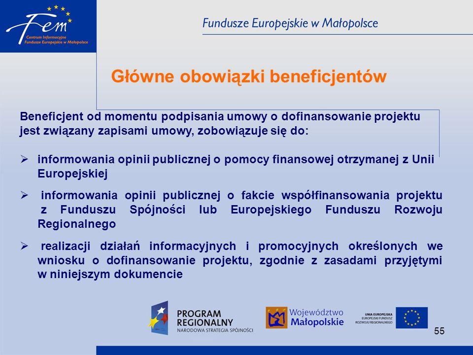 Główne obowiązki beneficjentów
