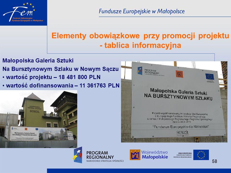 Elementy obowiązkowe przy promocji projektu - tablica informacyjna
