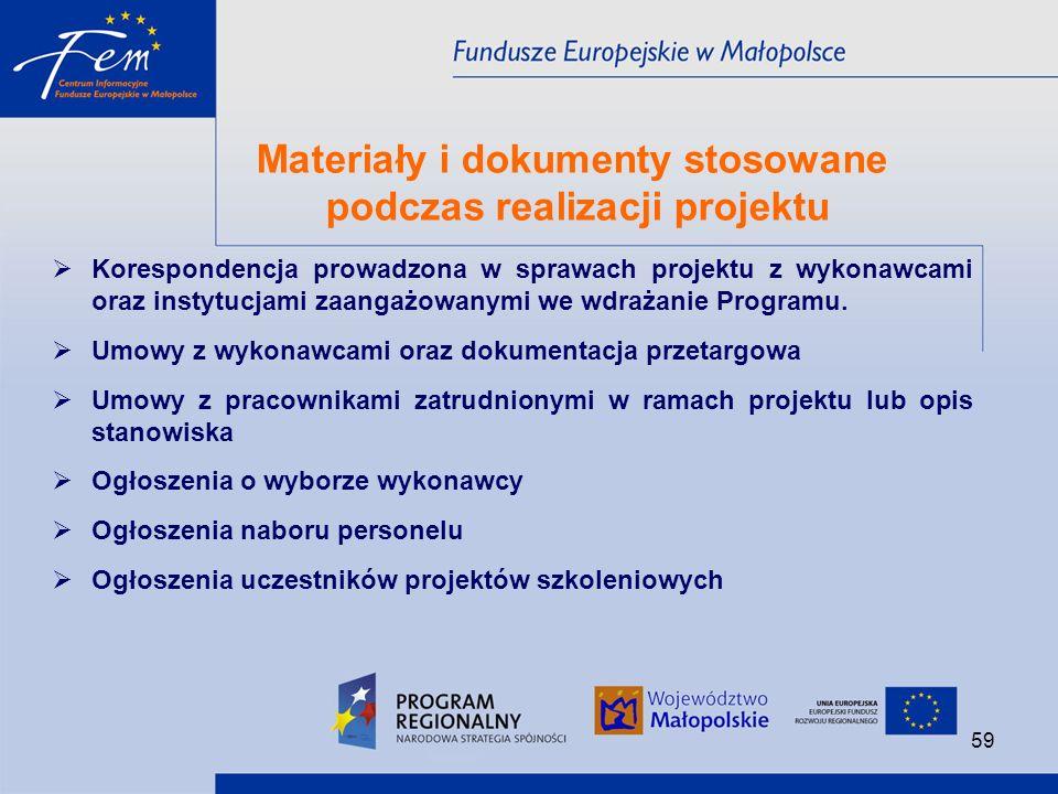 Materiały i dokumenty stosowane podczas realizacji projektu