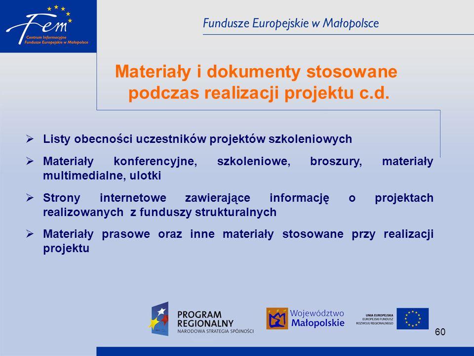 Materiały i dokumenty stosowane podczas realizacji projektu c.d.