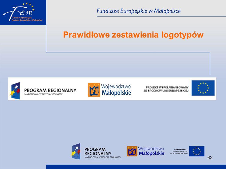 Prawidłowe zestawienia logotypów