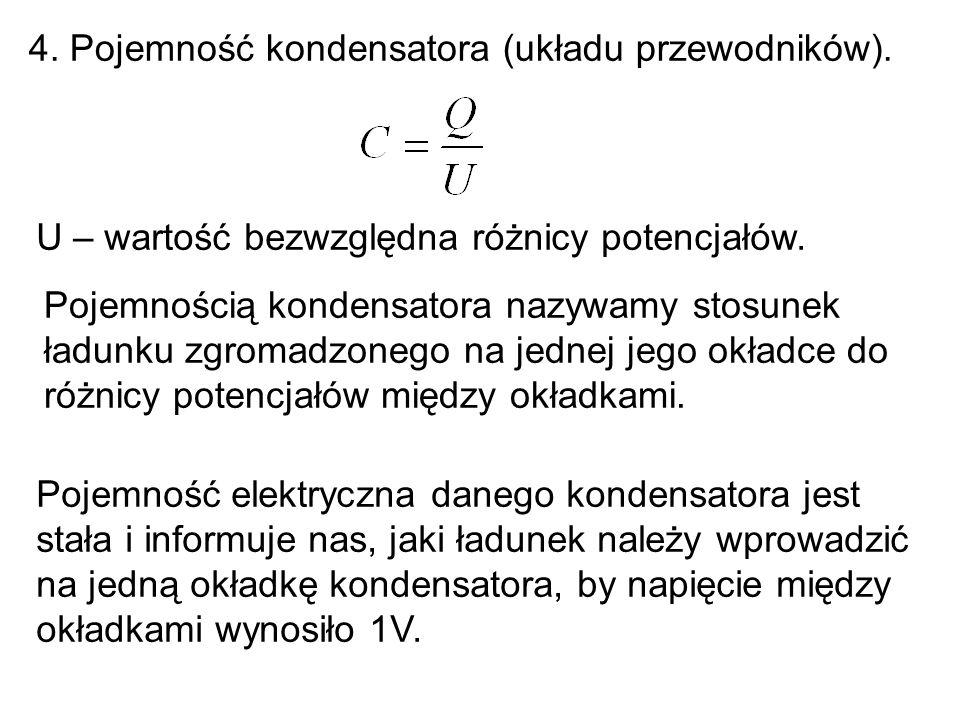 4. Pojemność kondensatora (układu przewodników).
