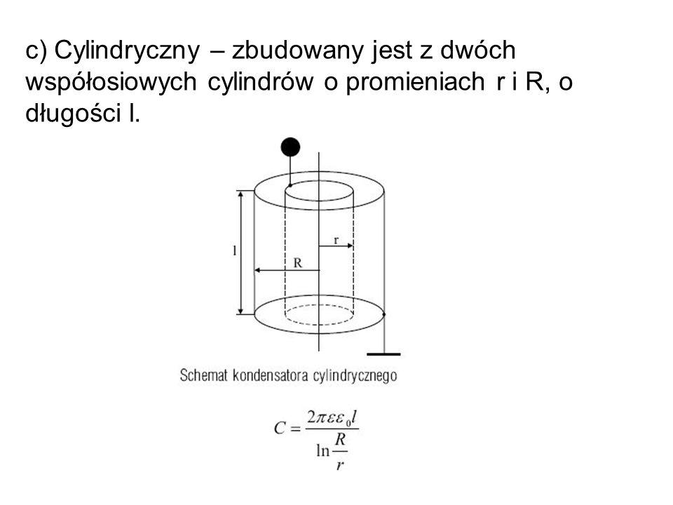c) Cylindryczny – zbudowany jest z dwóch współosiowych cylindrów o promieniach r i R, o długości l.